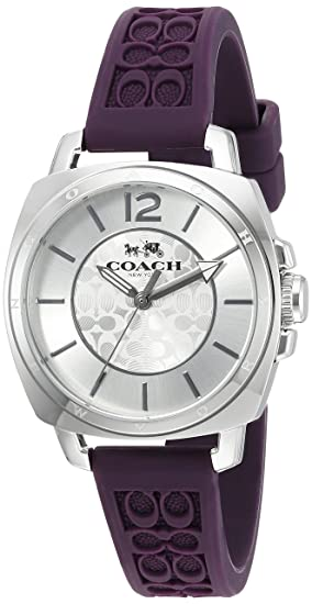 Coach Womens 14502091 Mini Boyfriend Signature Purple Strap Silver Tone Watch