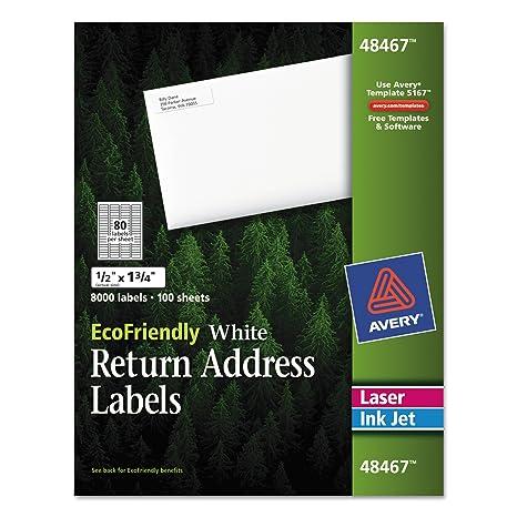 Avery White EcoFriendly Return Address Labels, 0 5 x 1 75 Inches, Box of  8000 (48467)
