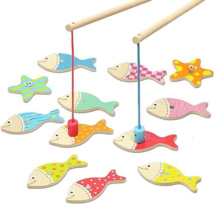 Kidzlane Juego Magnético De Pesca Para Niños Pequeños Juguete De Pesca De Madera Fácil De Jugar Para Niños Y Niños Juguete Montessori Regalo Para Niños Y Niños De
