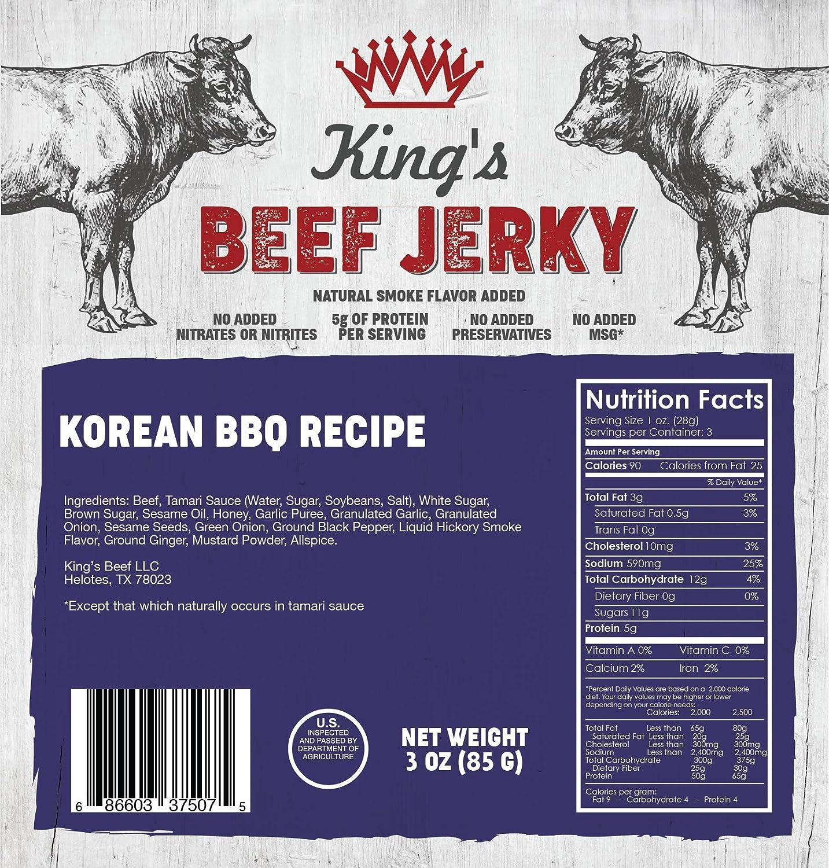Kings Beef Jerky, Korean BBQ, 3 oz. Bags, (3-Packs)