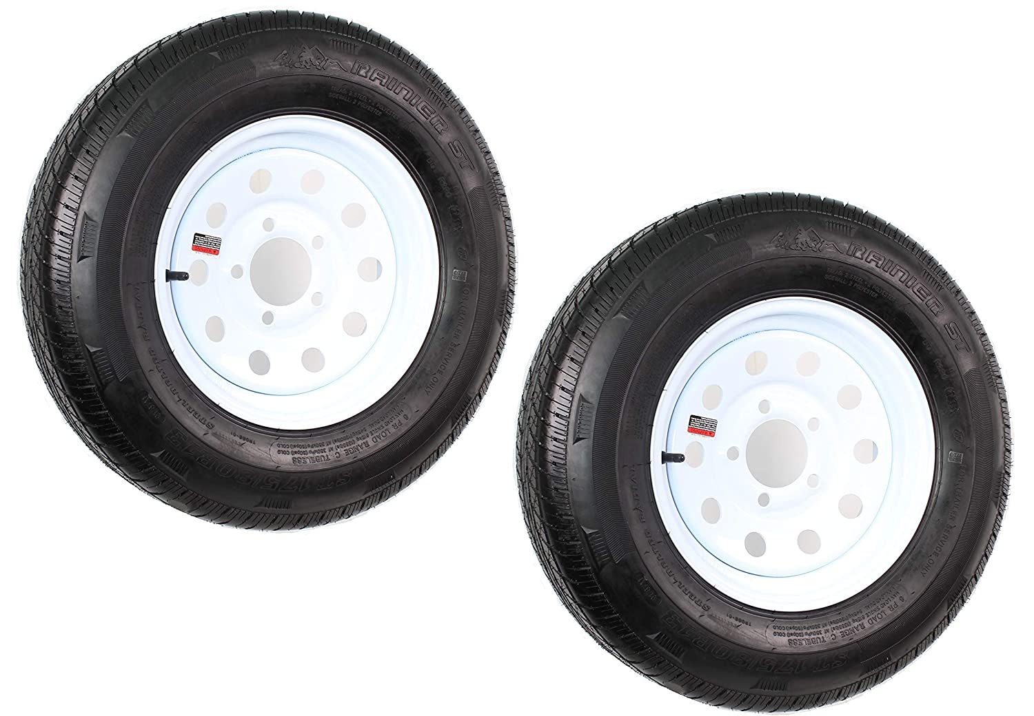 White Modular 5 on 4.5 2-Pack Radial Trailer Tire On Rim ST175//80R13C 13X4.5