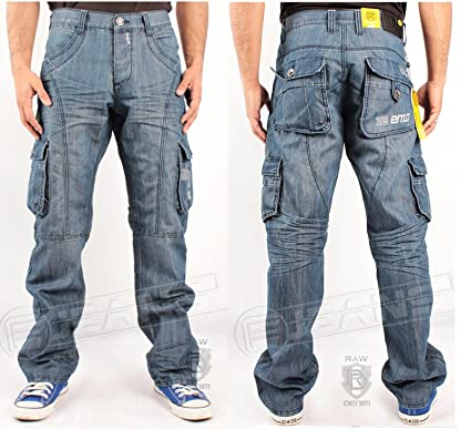 MENS JEANS ENZO EZ199 BLUE DENIM CARGO COMBAT STYLE CHEAP BIG ...