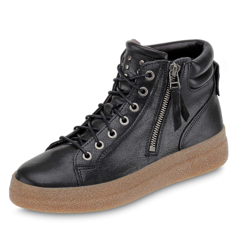 Schwarz890.70 Damen Stiefel mit 25-mm-Plateau Reißverschluss aus Glattleder