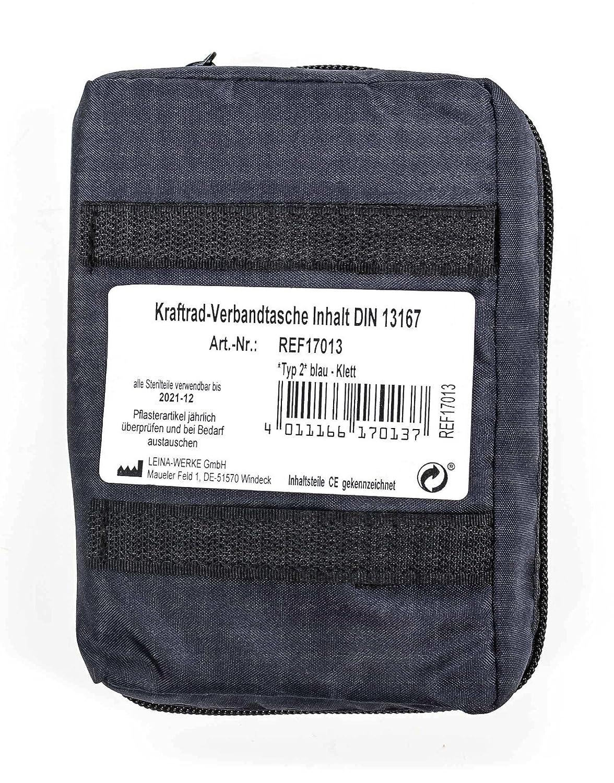 blau Rei/ßverschluss Kraftrad Verbandtasche 2 Klettb/änder Inhalt/entspricht/DIN/13167