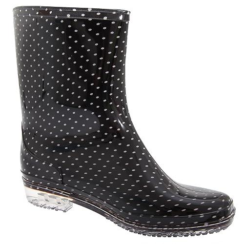 Botas de agua cortas estilo Wellington con estampado de lunares para mujer: Amazon.es: Zapatos y complementos
