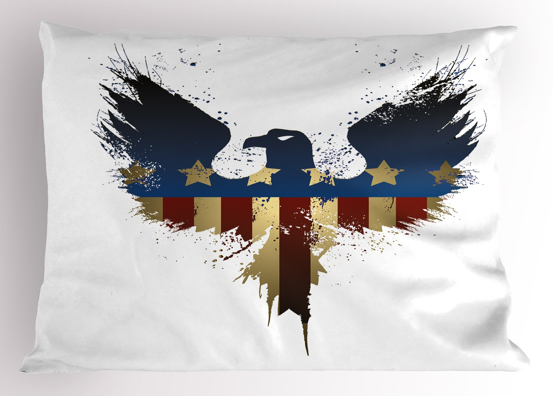 Ambesonne Eagle Pillow Sham, The American Flag on Silhouette of National Bird of The Country Majestic Animal, Decorative Standard Queen Size Printed Pillowcase, 30 X 20 inches, Blue Red Sepia
