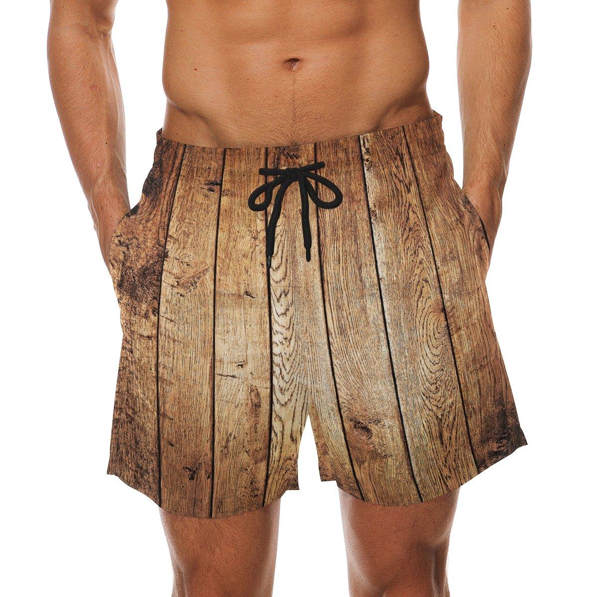 KEAKIA Mens Wood Beach Board Shorts Quick Dry Swim Trunk