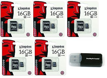 5 unidades de Kingston 16 GB MicroSD HC Clase 4 TF microSDHC ...