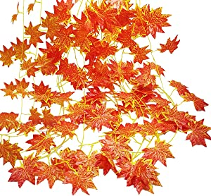 Autumn Garland, GoFriend 12 Strands (90 Feet) Artificial Maple Leaves Garland Red Maple Ivy Vine Hanging Fall Garland for Wedding Home Garden Party Thanksgiving Decor