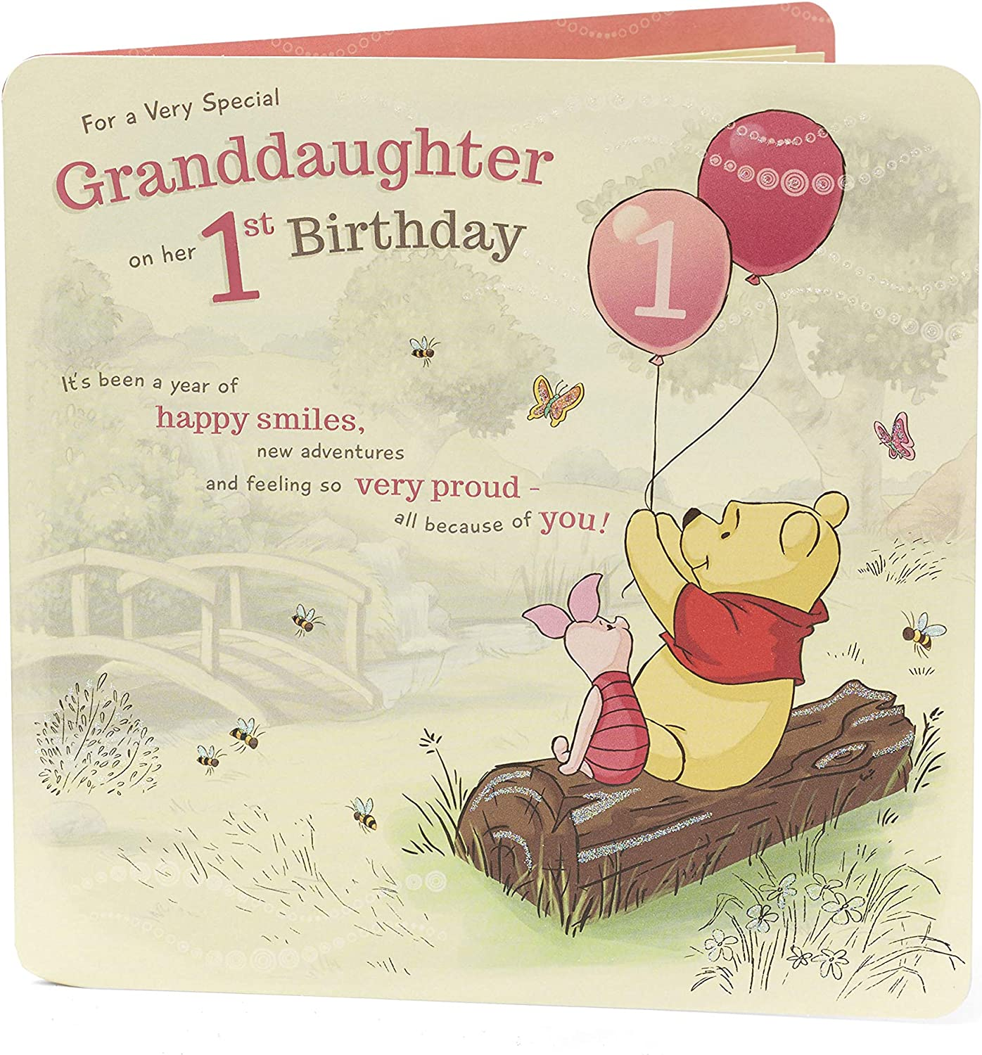 Amazon Com Disney Winnie The Pooh Granddaughter 1st Birthday Card Office Products