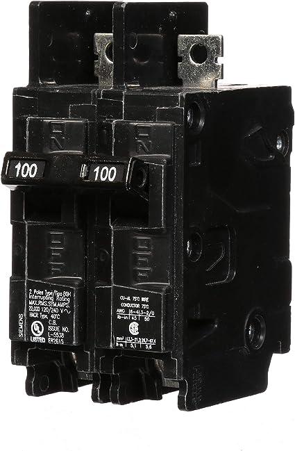 HI Siemens BQ2B100 100-Amp Double Pole 120//240-Volt 10KAIC Lug In//Lug Out Breaker Siemens