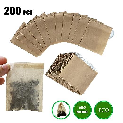 anaoo 200pcs Bolsas de Té Desechables Bolsitas Té de Papel Filtros para el Té de Hojas Bolsas para infusione con Cierre de cordón, Material Total ...