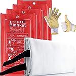YTFGGY 4 Pack Fire Blanket Emergency Survival Fiberglass Fire Suppression Blanket