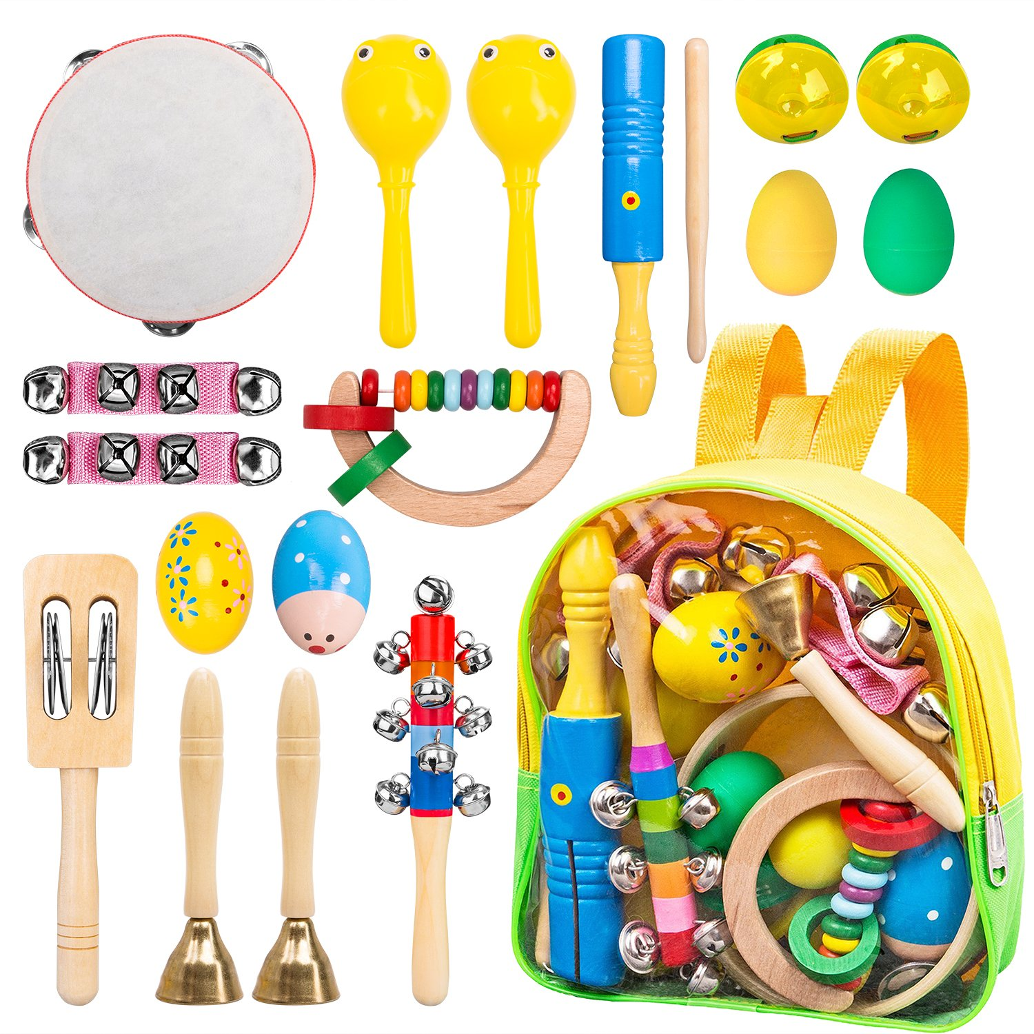INNOCHEER Kids Musical Instruments, ASTM Certified, FDA Approved, Toddler Wooden Musical Toys with Backpack, 17 Pieces Newever a-001