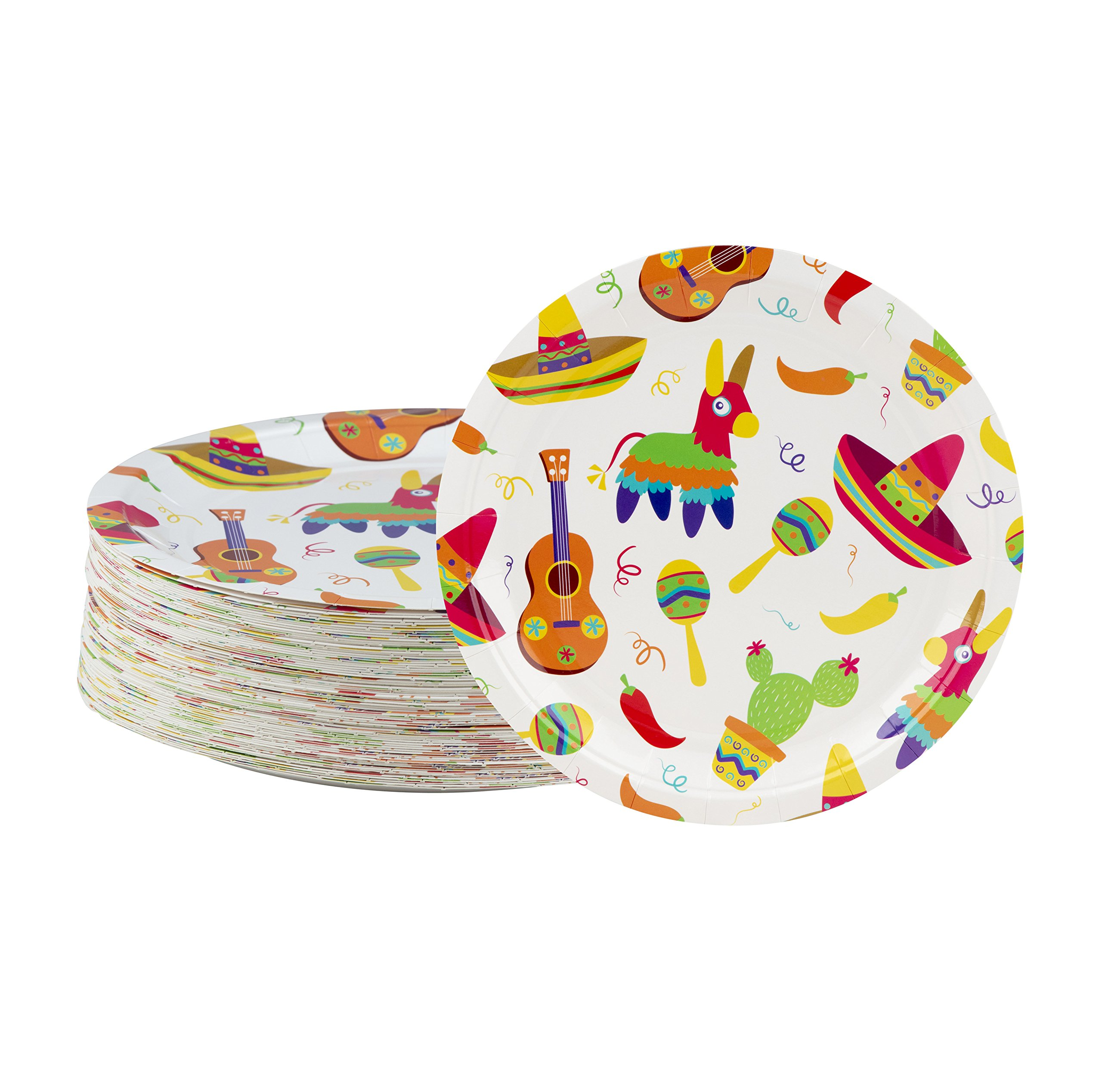 Disposable Plates - 80-Count Paper Plates, Mexican Fiesta Party Supplies for Appetizer, Lunch, Dinner, and Dessert, Birthdays, Cinco de Mayo, 9 x 9 Inches