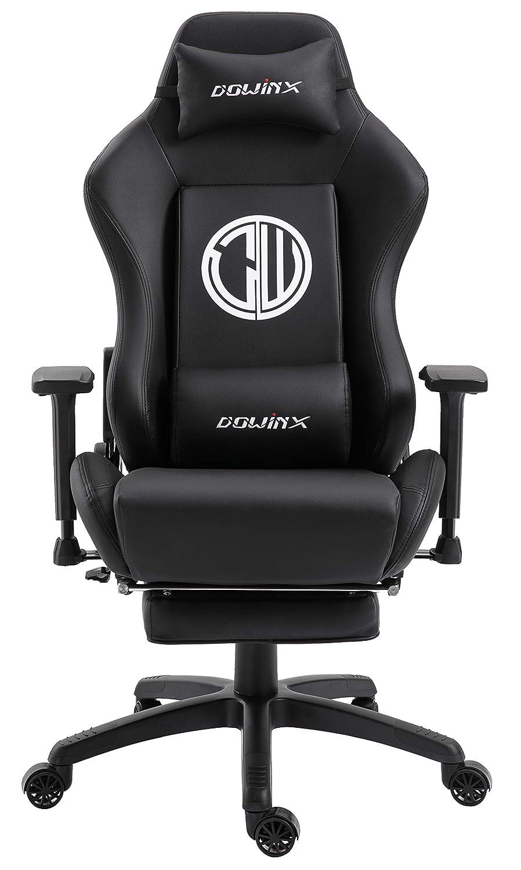 Dowinx Silla ergonómica para Juegos Silla reclinable para computadora con Soporte de Masaje Lumbar, sillón Estilo de competición Deportes de Cuero ...