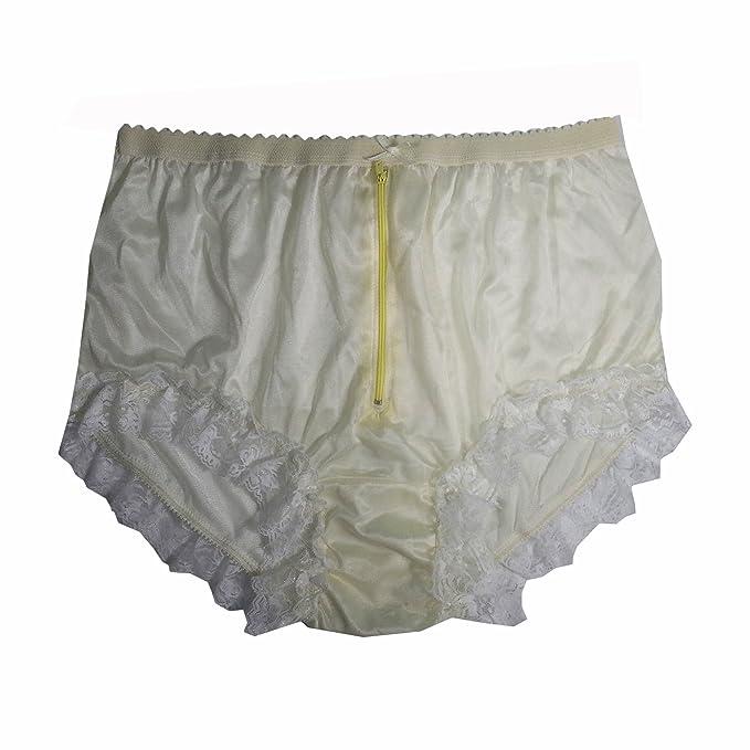 843194e4f NYH09D04 Yellow Handmade Vintage Style Brief Panties Nylon for Women Panty  Underwear high Waist Undies (