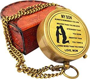 The New Antique Store - Compass with Leather Case/Gift for Son/to My Son Gifts/Mom to Son Gift/Son Son Memorial Gifts
