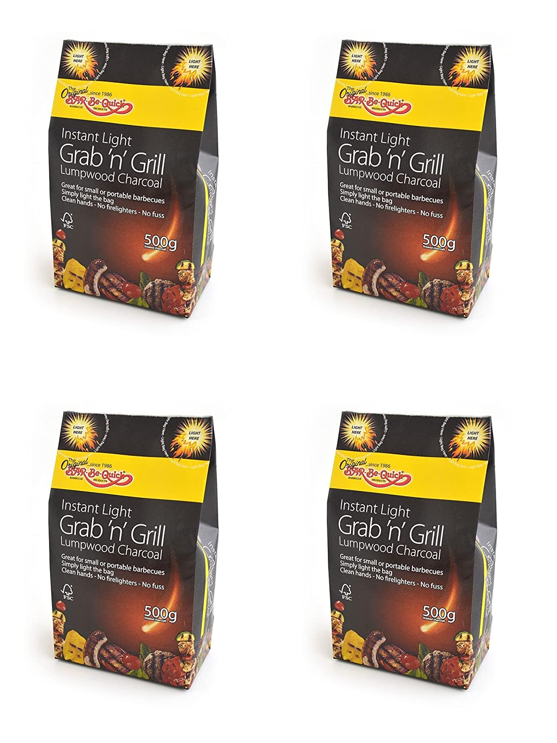 Perfect for Picnic BBQs Firepits and much more Kettle BBQs Simply light and cook! 6 X Bar-Be-Quick Instant Light Grab /& Grill Bags- Lumpwood Charcoal- 500g each bag