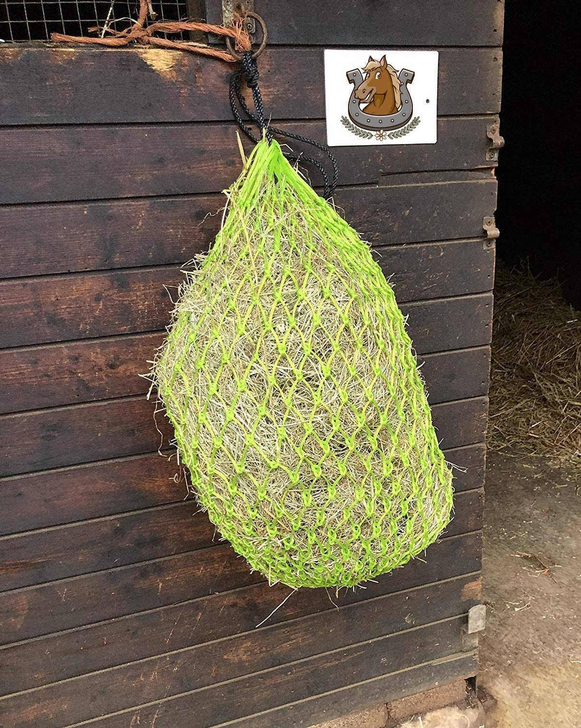 Metal Ring Net Bag With Extra Strong Mesh Holes.Horse Accessories Haynet To Trickle Feed Haylage Horse Treats /& Soak Hay Bale 2 X Hay Net Slow Feeder For Greedy Horses