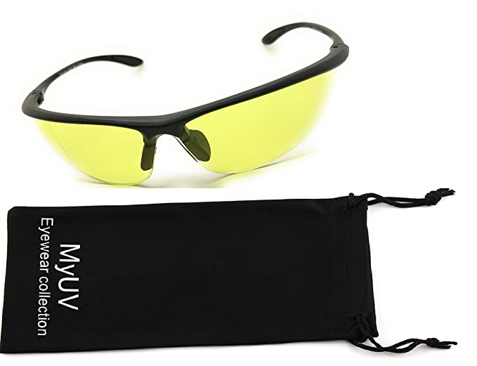77617ca40da Image Unavailable. Image not available for. Color  Night Driving Glasses  Anti-glare HD Vision Yellow Tint Polycarbonate Lens Safety Sunglasses for  Men