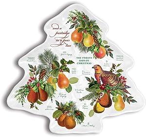 Michel Design Works Melamine Serveware Christmas Tree Plate, In a Pear Tree