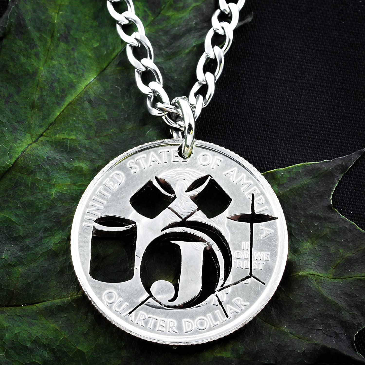Drum Necklace, Drummer Custom Initial Gift Coin, By Namecoins