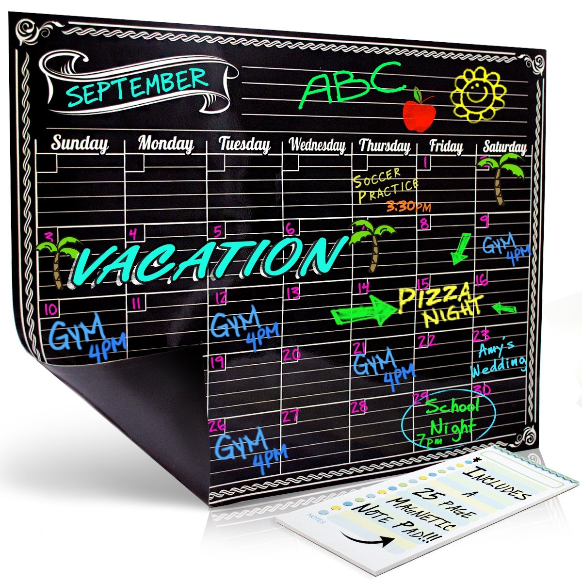 Bigtime Magnetic Refrigerator Calendar Dry Erase Black Flexible Magnet Board Design | Monthly for Kitchen Fridge| Use w/ Fluorescent Liquid Chalk or Neon Markers (12x16 Monthly Calender) Bigtime Signs