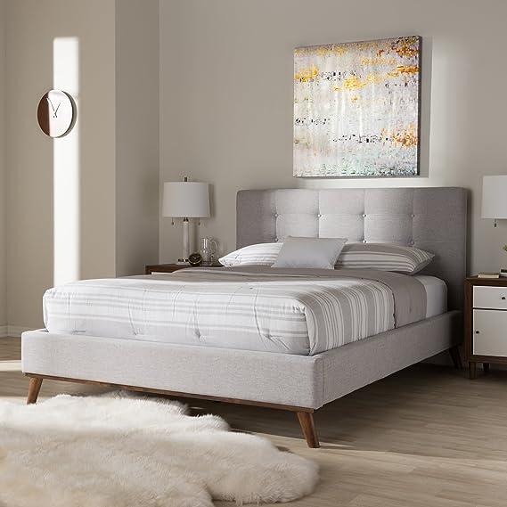 Amazon.com: Baxton Studio Platform Bed in Grayish Beige Finish (King: 87.4 in. L x 83.27 in. W x 45.87 in. H): Kitchen & Dining