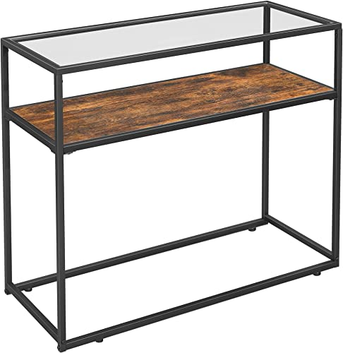 VASAGLE GLATAL Console Table, Tempered Glass Top and Sturdy Steel Frame, Easy Assembly, for Living Room Hallway Entrance, Industrial, Rustic Brown and Black ULNT10BX