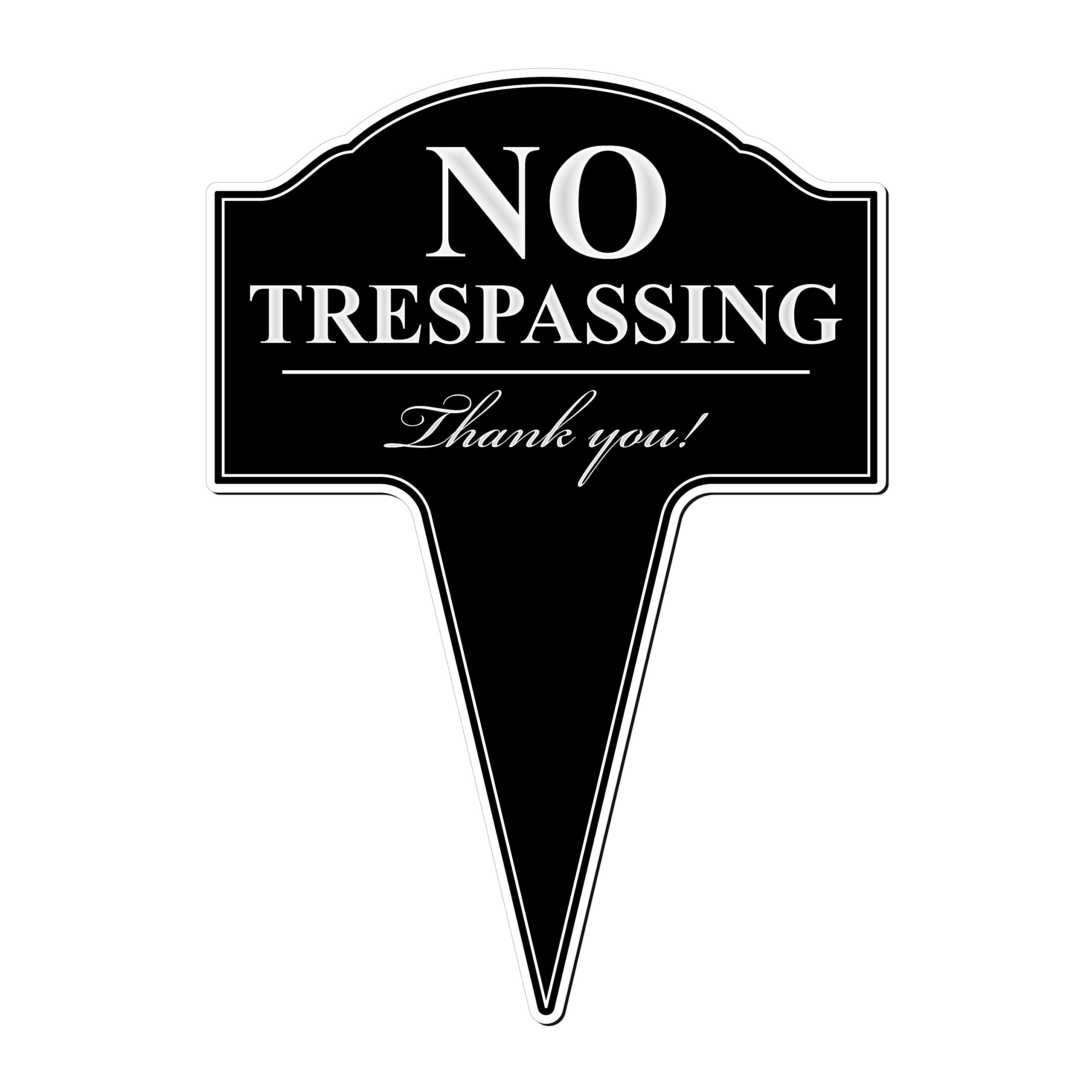 MRC Wood Products No Trespassing Aluminum Yard Sign with Stake Included 10x14