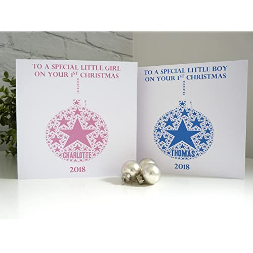 Personalised Babys 1st Christmas Card Personalised Christmas Card