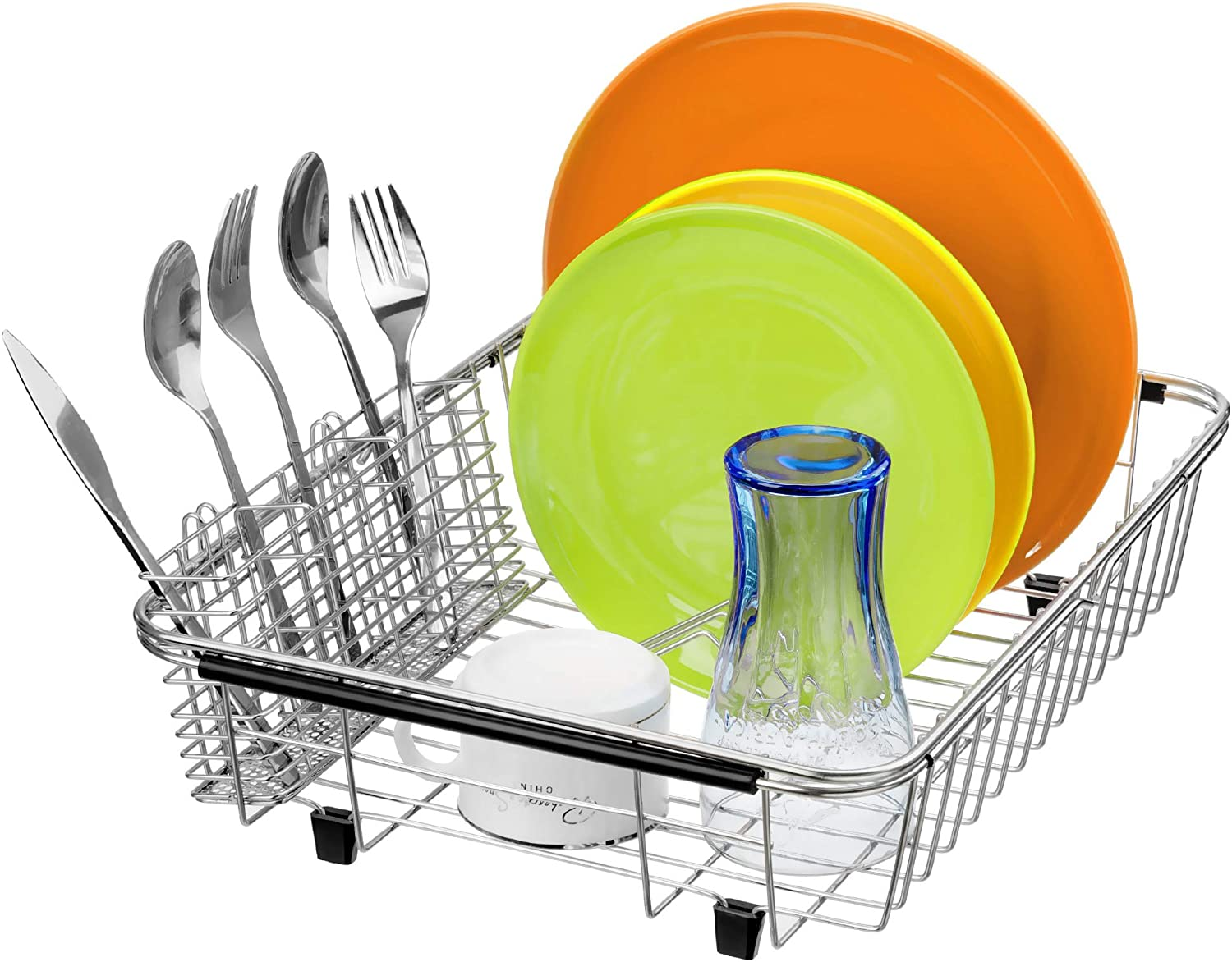Slideep Expandable Dish Drying Rack, 304 Stainless Steel Over the Sink Dish Rack, in Sink or On Counter Dish Drainer with Stainless Steel removable Utensil Holder