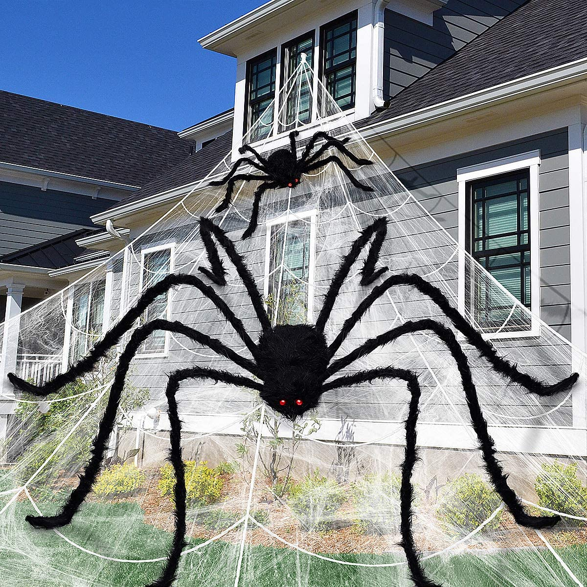 Large Halloween Decorations with Spider Web, Spider, Stretch Cobweb Set for Halloween Yard Outdoor Decorations