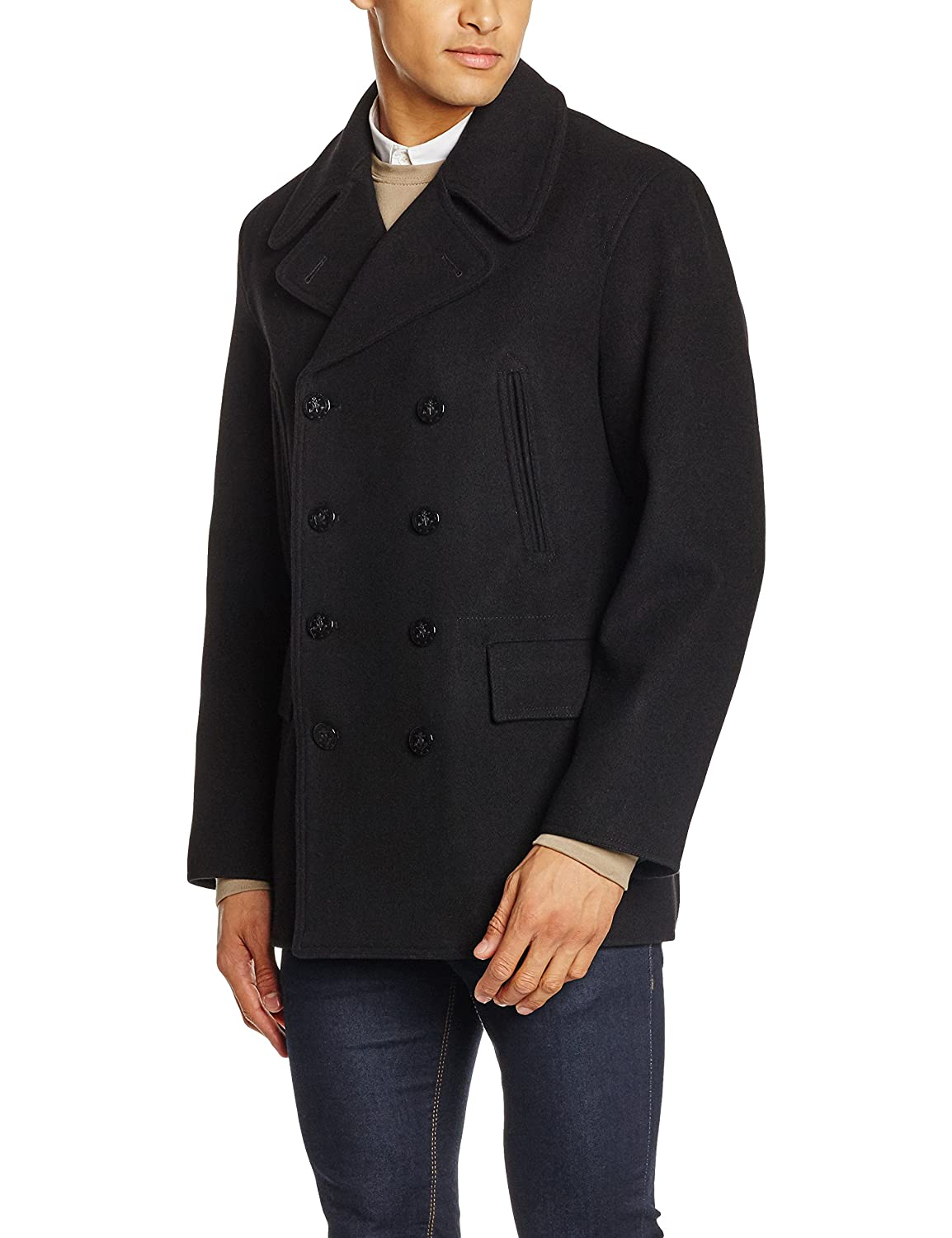 27585e687 Gloverall Men's Churchill Reefer Coat, (Black), Small: Amazon.co.uk ...