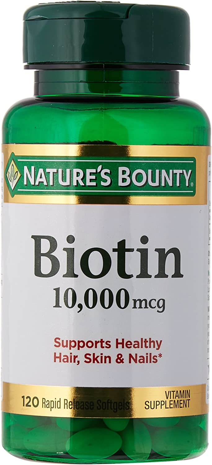 Nature s Bounty Biotin 10,000 MCG Softgels, 120 Count Pack of 3 120 ct each