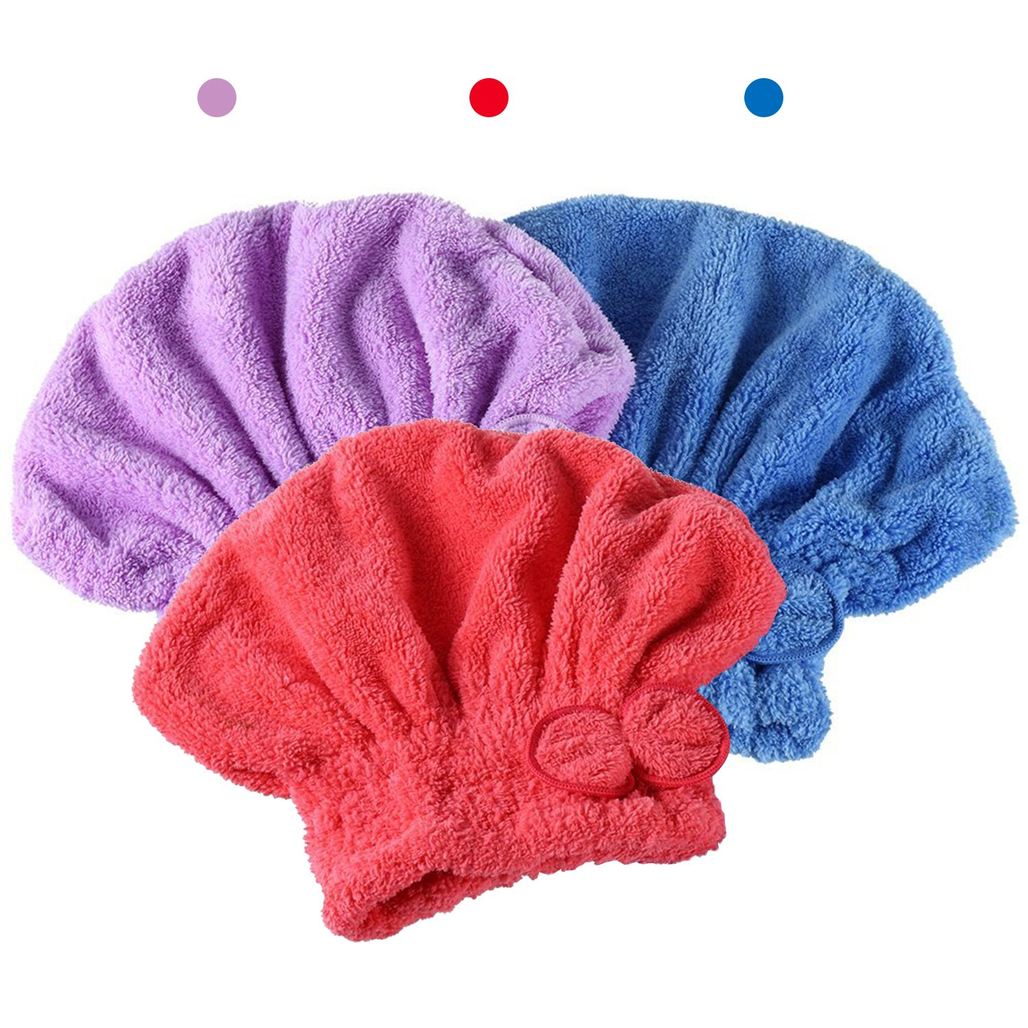 Dee Banna 3Pcs Wet Hair Drying Cap, Hair Drying Towels Ultra Absorbent Microfiber Drying Cap (Red,Blue,Purple) by Dee Banna (Image #2)