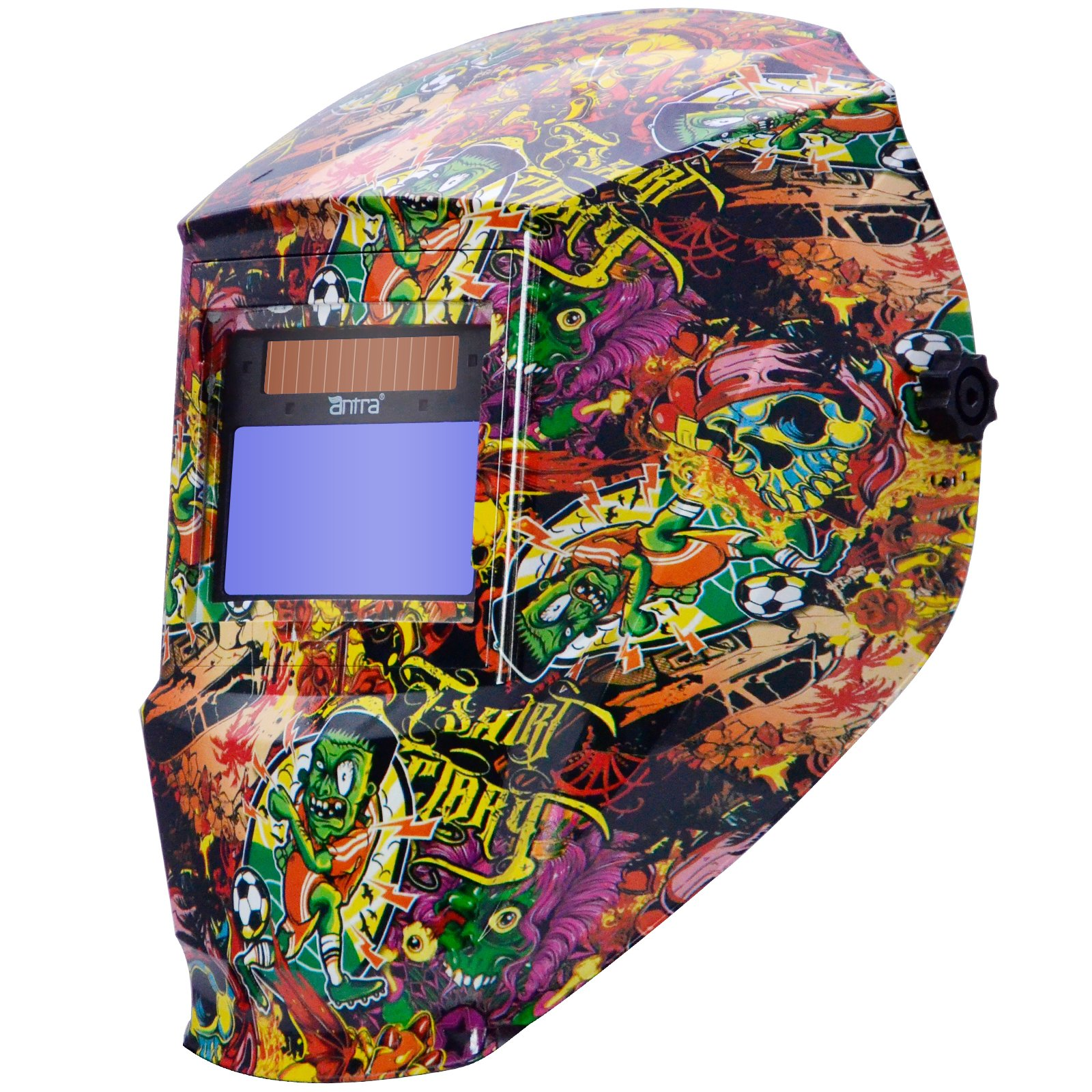 Antra AH6-330-6325 Digital Controlled Solar Power Auto Darkening Welding Helmet with ANTFI X30 Shade 5-8/9-13 with Grinding Feature Extra Lens Covers Good for TIG MIG MMA Plasma by Antra