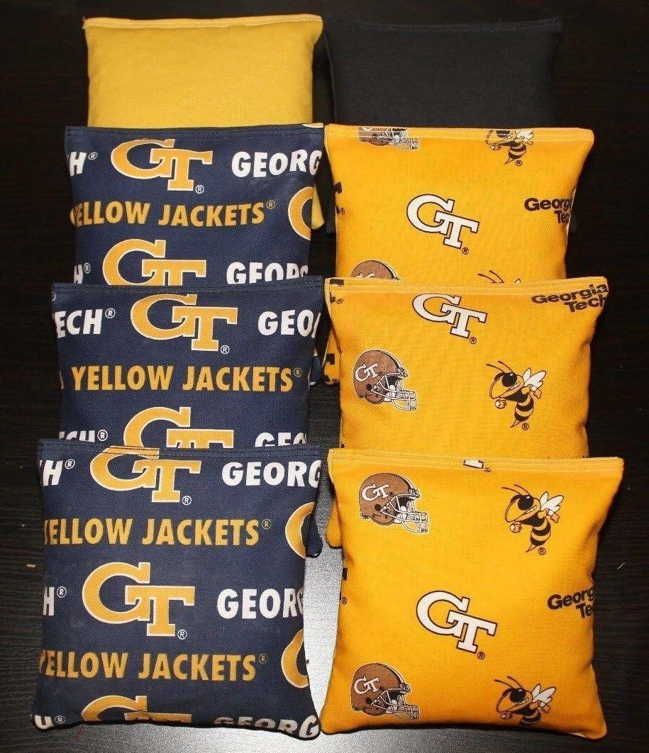 ALL WEATHER made w University of GEORGIA BULLDOGS Fabric 8 CORNHOLE BEAN BAGS
