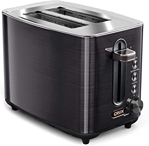 CRUX 2-Slice Toaster with 6 Setting Shade Control, Black Stainless Steel