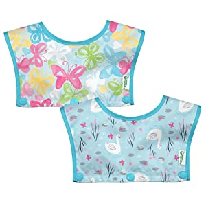green sprouts Waterproof Tops for Snap & Go Silicone Food-Catcher Bib (2 Pack) | Interchangeable Bib Tops | Made Without PVC, Formaldehyde, AZO Dyes, Aqua, Aqua Swan - 2 Pack