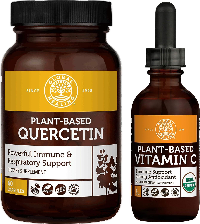 Global Healing Quercetin 250mg & Plant-Based Vitamin C Kit - Natural Defense & Response to Occasional Allergies & Vegan Antioxidant for Immune System Booster & Skin Health - 60 Capsules & 2 Fl Oz