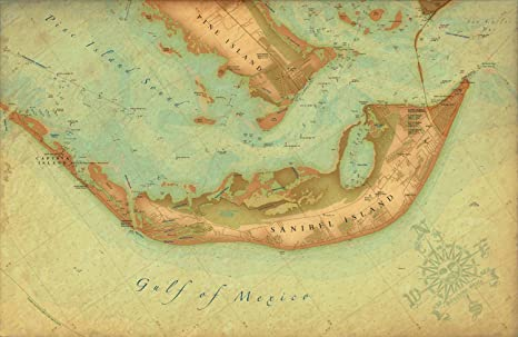 Sanibel Florida Map.Amazon Com Sanibel Fl Vintage Style Map Posters Prints
