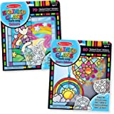 Melissa & Doug Stained Glass Made Easy Peel & Press Craft Kit for Kids 2 Pack - Rainbow & Heart Ornaments (2), Unicorn, Multicolor