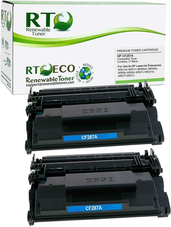 Renewable Toner Compatible Toner Cartridge Replacement for HP 87A CF287A Laserjet Pro M501 M506 M527F (Black, 2-Pack)