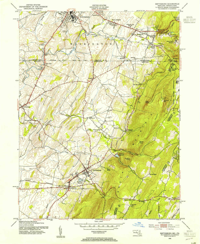Amazon.com : YellowMaps Smithsburg MD topo map, 1:24000 Scale, 7.5 X ...