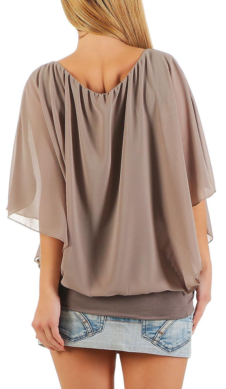 Dam blus i fledermaus look | tunik med rund hals och bred kant | blusskjorta kort ärm | Elegant – tröja 6296 Fango