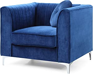 Glory Furniture Delray Chair, Navy Blue. Living Room Furniture, 1 Seater