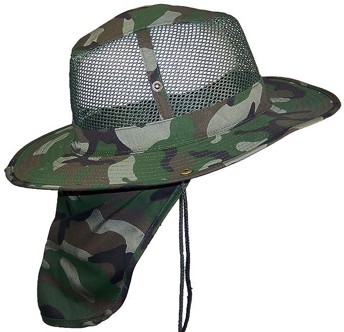 Tropic Hats Summer Wide Brim Mesh Safari Outback W Neck Flap   Snap ... 4aa544f3de33
