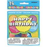 Unique Party - 5160 - Paquet de 15 Ballons Anniversaire - Happy Birthday - Coloris Aléatoire